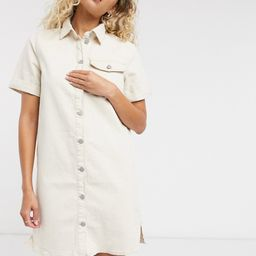 Vila button front denim dress in off white   ASOS (Global)