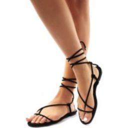 Miley Black Lace Up Flat Sandals - US 5 | Public Desire (US & CA)
