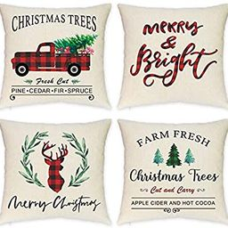 HEOFEAN Christmas Pillow Covers 18x18 Inch – Set of 4 Farmhouse Red Buffalo Check Christmas Pil...   Amazon (US)