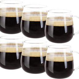 Farielyn-X Glass Coffee Mugs Set of 6, Microwave Safe Borosilicate Glass Cups, 15 Ounce Large Mug... | Amazon (US)