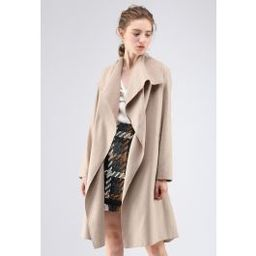 Free Myself Open Front Wool-Blend Coat in Sand | Chicwish