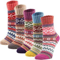 YZKKE 5Pack Womens Vintage Winter Soft Warm Thick Cold Knit Wool Crew Socks, Multicolor, free siz... | Amazon (US)