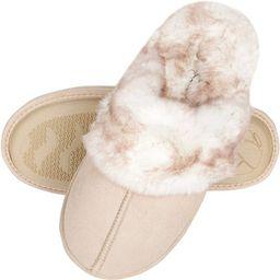Jessica Simpson Women's Comfy Faux Fur House Slipper Scuff Memory Foam Slip on Anti-skid Sole | Amazon (US)