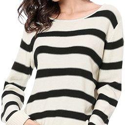 Allegra K Women's Round Neck Drop Shoulder Tunic Striped Sweater | Amazon (US)