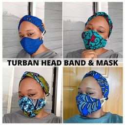 African Print Turban Headband Face Mask, Ankara Earsavers with Buttons for Mask, Healthcare Worke... | Etsy (US)