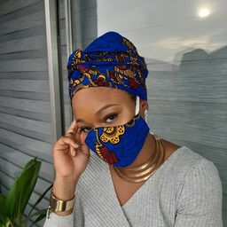 African Print Face Mask and Head Wrap Set, African Face Mask, Ankara Head Wrap, African Turban, A... | Etsy (US)