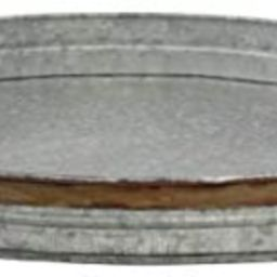 Stonebriar Oval Galvanized Serving Tray with Rust Trim and Metal Handles, Large | Amazon (US)