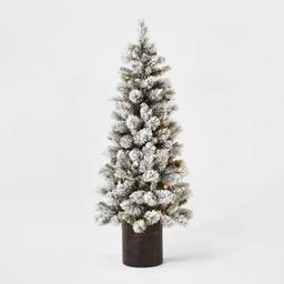 5ft Pre-lit Artificial Christmas Tree Potted Flocked Virginia Pine Clear Lights - Wondershop™ | Target
