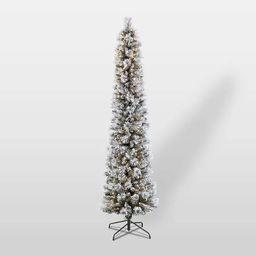 6.5ft Pre-Lit Flocked Portland Pencil Artificial Christmas Pine Tree - Puleo | Target