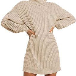 MILLCHIC Women Oversized Turtleneck Long Sleeve Sweater Dress Casual Loose Knit Pullover Dresses   Amazon (US)