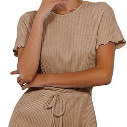 MakeMeChic Women's Casual Lettuce Trim Rib Knit Short Sleeve High Waist Romper   Amazon (US)