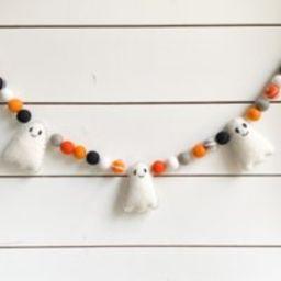 Ghost Halloween Garland, Felt Ball - Pom Free Shipping Usa | Bunting Fall Autumn Decoration | Etsy (US)