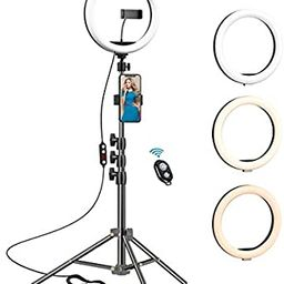 10.2 inch Selfie Ring Light with Tripod Stand & 2 Phone Holders,Anbes Dimmable Led Camera Ringlig... | Amazon (US)