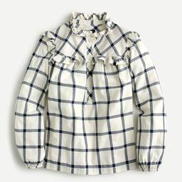 Ruffle popover top in flannel | J.Crew US