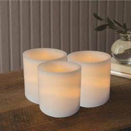(3-pack) Mainstays 3x4 Inch Flameless LED Pillar Candles, White   Walmart (US)