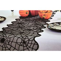 Halloween Party Spider Lace Table Runner Black 20 x 80 Cover tablecloth, Polyester By Darice   Walmart (US)