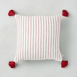 """18"""" x 18"""" Dotted Stripe Throw Pillow with Tassels Red/Cream - Hearth & Hand™ with Magnolia   Target"""