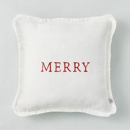 """14"""" x 14"""" Embroidered 'Merry' Decor Pillow Red/White - Hearth & Hand™ with Magnolia   Target"""