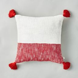"""18"""" x 18"""" Woven Colorblock Throw Pillow with Tassels Red/Sour Cream - Hearth & Hand™ with Magno...   Target"""