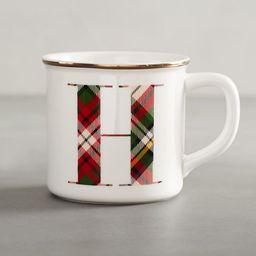 Plaid Alphabet Stoneware Mug | Pottery Barn (US)
