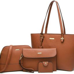 Women Fashion Handbags Tote Bag Shoulder Bag Top Handle Satchel Purse Set 4pcs   Amazon (US)