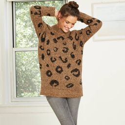 Women's eopard Print Mock Turteneck Tunic Puover Sweater - Universa Thread™ | Target