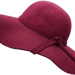 Bienvenu Women's Wide Brim Wool Ribbon Band Floppy Hat   Amazon (US)