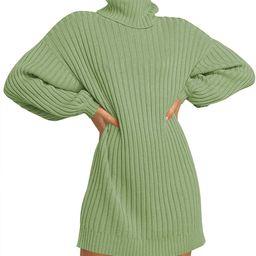 MILLCHIC Women Oversized Turtleneck Long Sleeve Sweater Dress Casual Loose Knit Pullover Dresses | Amazon (US)