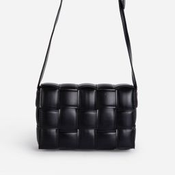 Mae Quilted Cross Body Bag In Black Faux Leather | EGO Shoes (US & Canada)