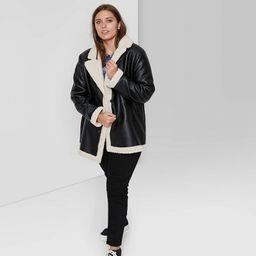Women's Faux Fur Leather Pea Coat - Wild Fable™   Target