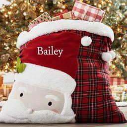 Plaid Applique Santa Bag | Pottery Barn Kids
