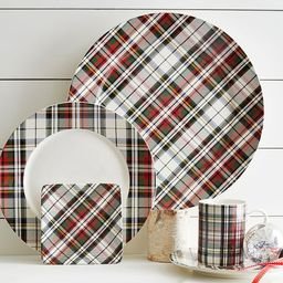 Denver Plaid Stoneware 16-Piece Dinnerware Set | Pottery Barn (US)