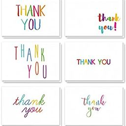 Thank You Cards - 48-Count Thank You Notes, Bulk Thank You Cards Set - Blank on The Inside, 6 Col... | Amazon (US)