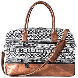 MyMealivos Canvas Weekender Bag, Overnight Travel Carry On Duffel Tote with Shoe Pouch (black) | Amazon (US)