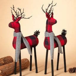 Red Plaid Reindeer, Set Of 2 | Pottery Barn (US)