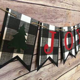 Buffalo Check Joy banner, joy banner, christmas banner, plaid banner, buffalo check banner, rusti... | Etsy (US)