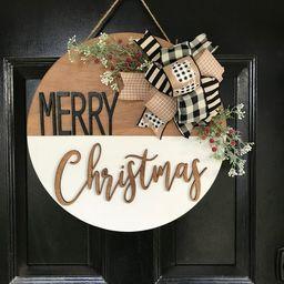 Christmas Door Hanger | Holiday Decor | Farmhouse | Door Decor | Merry Christmas | Christmas Door... | Etsy (US)