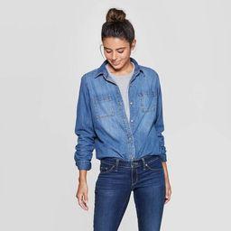 Women's Long Sleeve Labette Denim Woven Shirt - Universal Thread™ Blue   Target