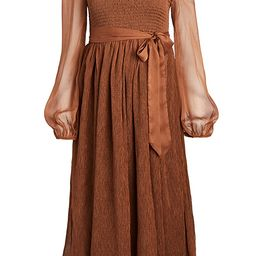 Smocked Chiffon Midi Dress | Shopbop