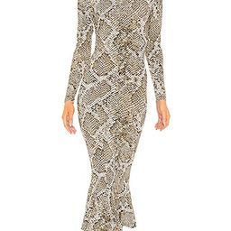 Crew Fishtail Dress in Scale Python                       Norma Kamali | Revolve Clothing (Global)
