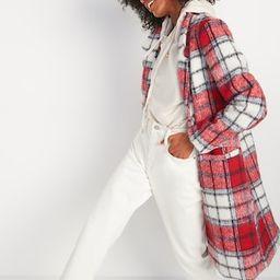 Oversized Soft-Brushed Plaid Overcoat for Women | Old Navy (US)