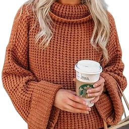 BLENCOT Womens Turtleneck Pullover Sweaters Batwing Long Sleeve Loose Chunky Knitted Jumpers Tops | Amazon (US)