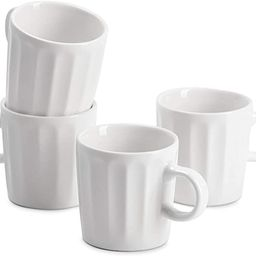 Sweese 410.101 Porcelain Espresso Cups - 3.5 Ounce - Set of 4, Fluted Cups, White | Amazon (US)