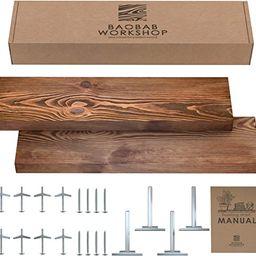 BAOBAB WORKSHOP Wood Floating Shelves Set of 2 - Rustic Shelf 24 inch - Made in Europe - Wide Woo... | Amazon (US)