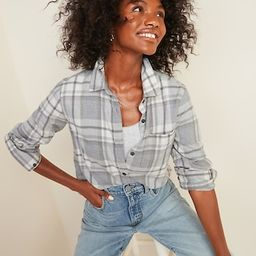 Classic Plaid Flannel Chest-Pocket Shirt for Women   Old Navy (US)