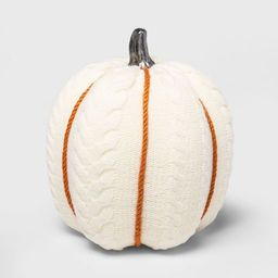 Large Cable Knit Soft Fabric Harvest Pumpkin (with White Contrast Jute Base) - Spritz™   Target