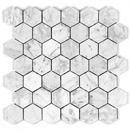"Bianco Carrara 2"" x 2"" Marble Honeycomb Mosaic Tile Seven Seas   Wayfair North America"