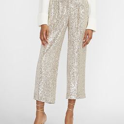 High Waisted Sequin Cropped Trouser Pant   Express