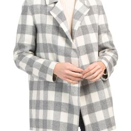 Wool And Cashmere Sileena Luxe Buffalo Plaid Jacket   TJ Maxx
