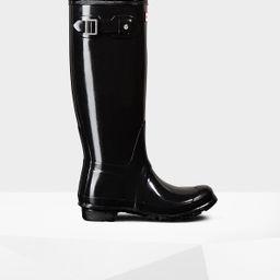 Women's Original Tall Gloss Rain Boots: Black   Hunter (US)